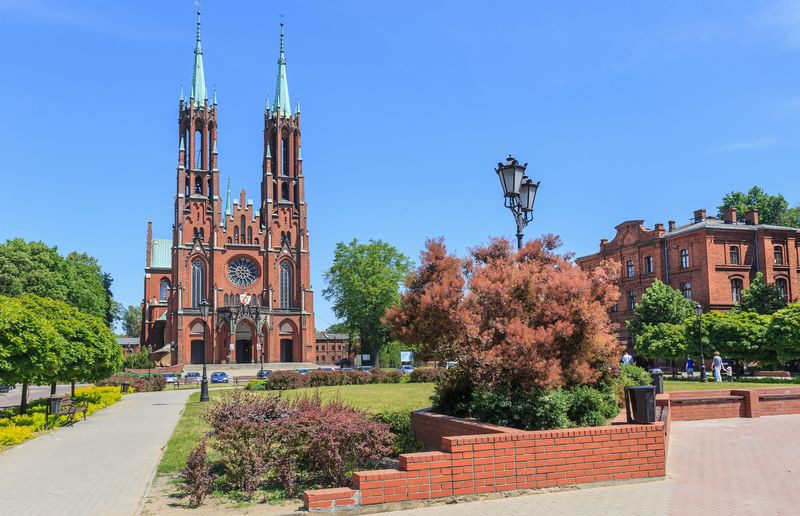 Catholic Church in Zyrardow, Mazowieckie voivodship, Poland. It was built between 1900-1903 in neo-Gothic style designed by Joseph Pius Dziekoski on the main square of Zyrardow