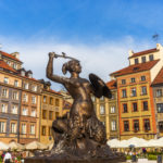 Mermaid statue in the old town - Warsaw, Poland